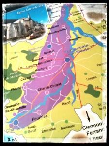 Carte de l'AOP Saint-Pourçain